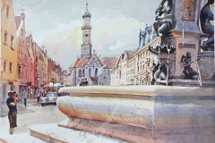 Herkulesbrunnen mit Ulrichskirche, Augsburg