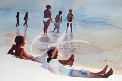 Schwarze Kinder am Strand