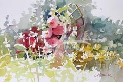 Stockrosen,  45 x 31 cm