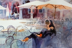Urlaubsgeflüster, Straßencafé in Sibenik