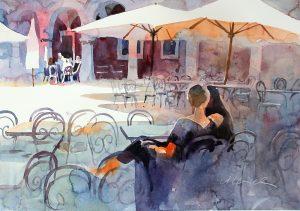 Aquarell, Straßencafé in Sibenik