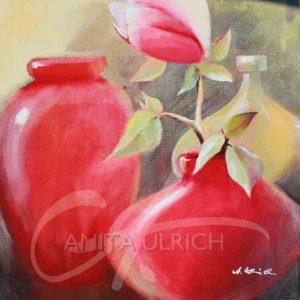 Rote Vasen mit Magnolienzweig