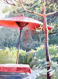 Roter Japanschirm im Teegarten, Kamakura