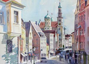 Perlachturm und Rathaus vom Hohen Weg aus, Augsburg