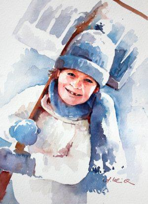Lausbub mit Schneeschaufel