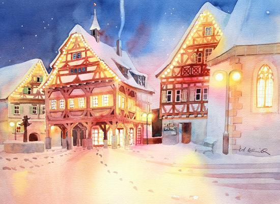 Weihnachtliche Marktstraße in Plochingen