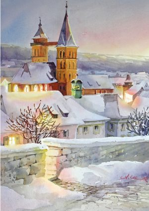Stadtkirche, Esslingen im Winter