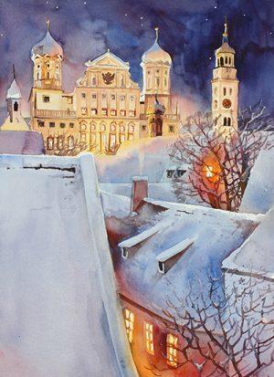Augsburg, Rathaus und Perlach - gesehen vom Jakobstift aus