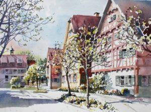 Marktstraße Deizisau im Sommer