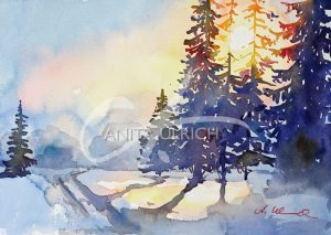 Aquarell Sonne im Winterwald