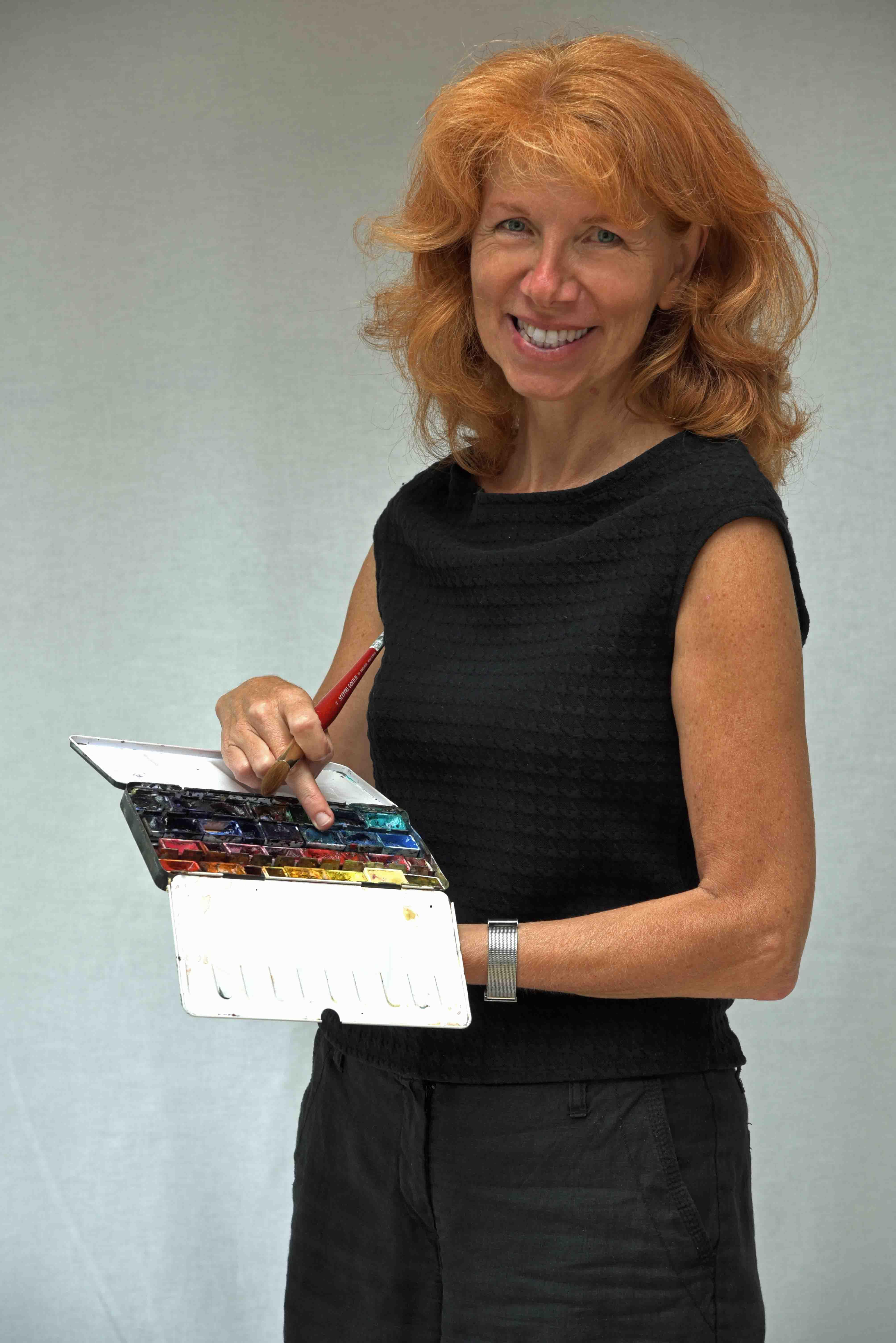 Anita mit Aquarellkasten
